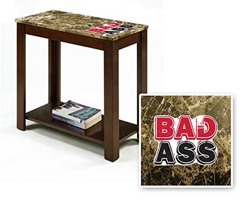 New Rectangular Top Espresso / Cappuccino Finish Night Stand End Table with Faux Marble Table Top featuring Badass Theme