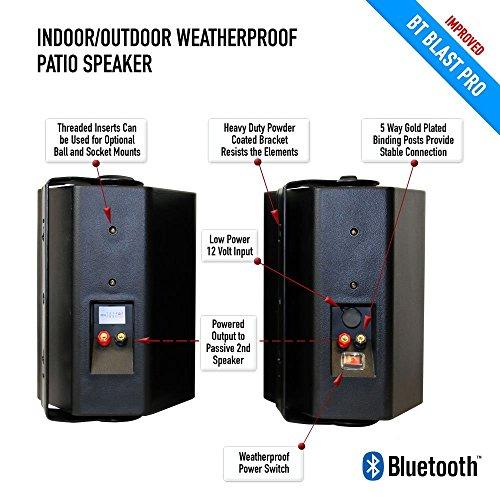 Bluetooth 6.50'' Indoor/Outdoor Weatherproof Patio Speakers, Wireless Outdoor Speakers (Black- pair),by Sound Appeal by Sound Appeal (Image #5)