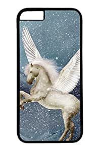 iPhone 6 Case, Personalized Unique Design Protective Cover for iPhone 6 PC Black Edge Case - Flying White Horse