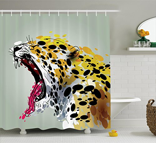 Animal Shower Curtain by Ambesonne, Modern Safari African Wild Big Cat Tiger with Dots Image Artwork, Fabric Bathroom Decor Set with Hooks, 84 Inches Extra Long, Sage Green Yellow Black - 29229 Sc