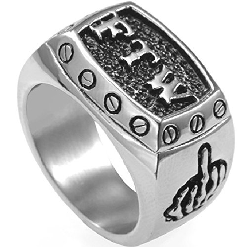 Stainless Steel FTW Biker Rider Middle Finger Ring (9)