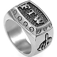 Stainless Steel FTW Biker Rider Middle Finger Ring