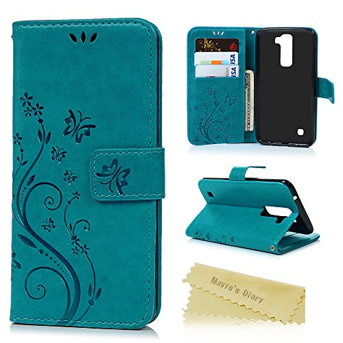 LG K7 Phone Case, LG Tribute 5 Case, LG M1 Case - Mavis's Diary Premium Wallet Fashion Embossed Butterfly Floral PU Leather Flip Folio Case & Card Slots Wrist Strap Soft TPU Inner Cover - Blue (High End Halloween Costumes For Couples)