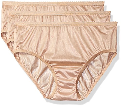 Shadowline Women's Panties-Nylon Hipster (3 Pack), Nude, 7