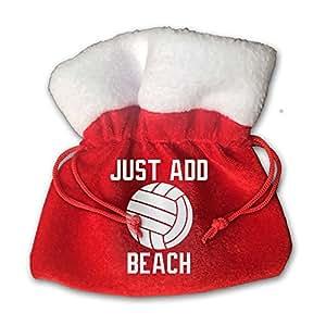 Just Add Beach Volleyball Red Velvet Drawstring Pouch Bag 15cm X 15cm