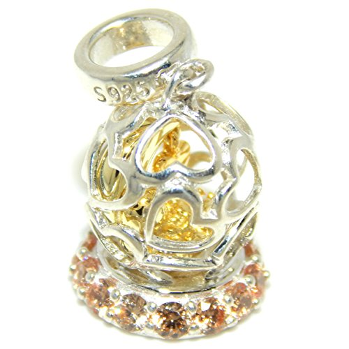 Pro Jewelry 925 Solid Sterling Silver Dangling Gold Tone Moon w/ Dangling Heart Inside Heart Snow Globe w/ Orange Crystals Charm Bead