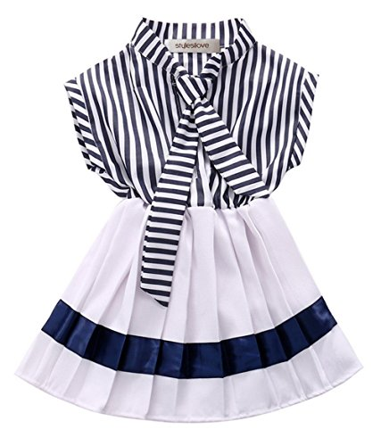 StylesILove Kids Classic Navy Striped and Pleated Little Girl Dress (140/6-7 Years) (Striped Navy Dress Suit)
