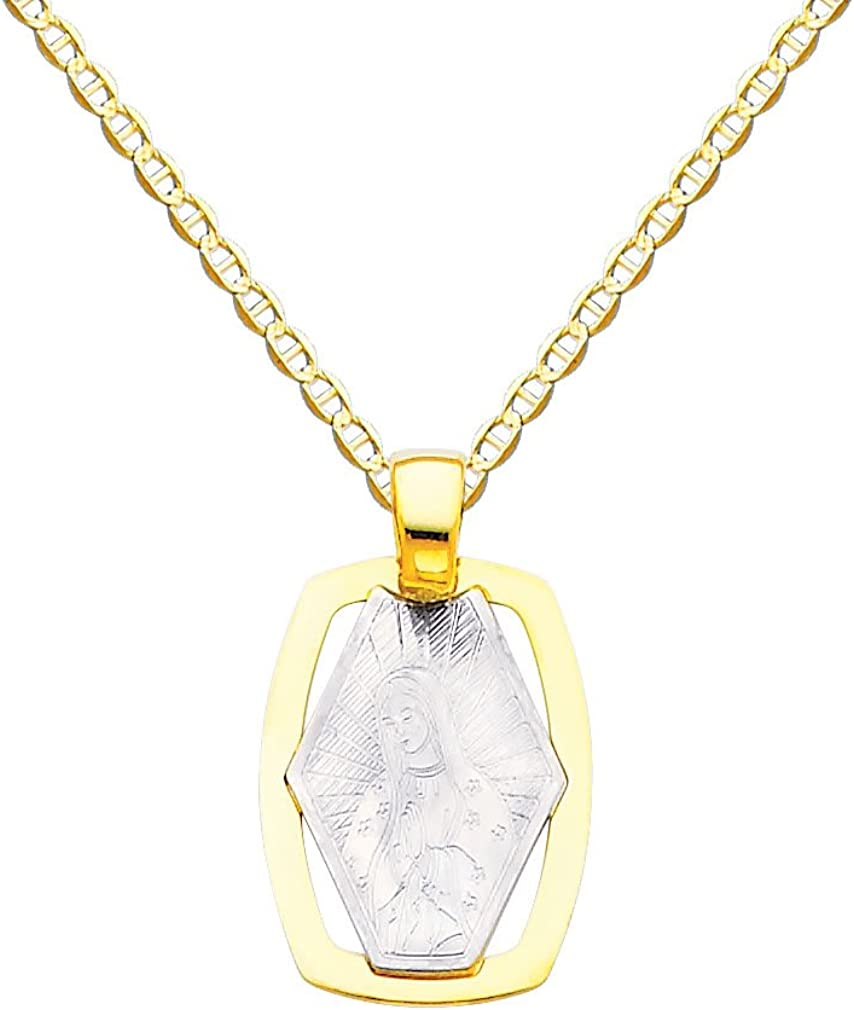 14k Two Tone Gold Religious Our Lady of Guadalupe Pendant with 1.5mm Flat Mariner Chain Necklace