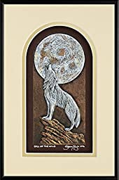Call of the Wild - Cast Paper - Wolf Howling at moon - Big moon - handmade -silver wolf - white wolf