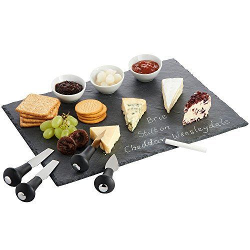 VonShef Cheese Tray and Dipping Accessories with Slate Tray for Cheese with Knives and Dishes (Tapas Dish Set)