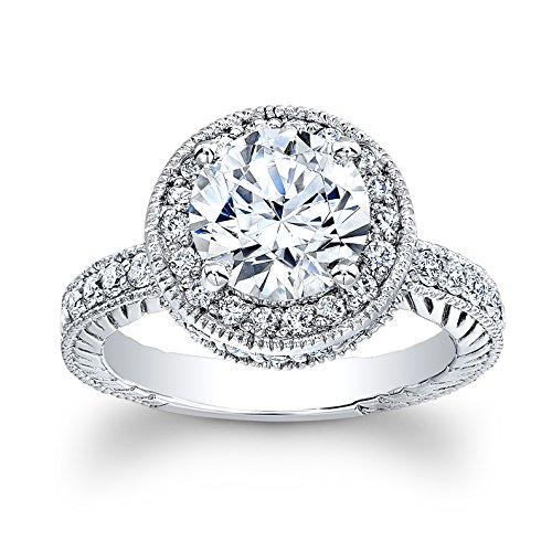 Ladies 14kt white gold antique engagement ring with 2ct natural Round Brilliant White Sapphire Center and 0.70 ctw G-VS2 diamonds ()