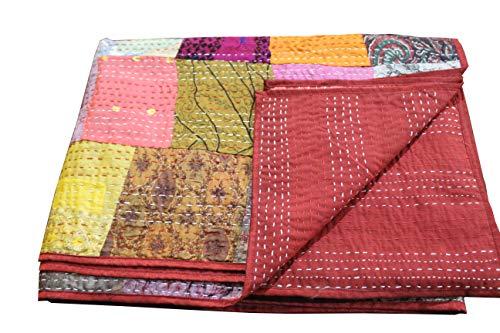 - FashionShopmart Patola Silk Twin Size Kantha Quilt, Kantha Blanket, Bed Cover, Twin Kantha Bedspread, Bohemian Bedding Kantha Size 90 Inch x 60 Inch