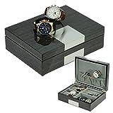 TimelyBuys Grey Ginko Lacquered Wood Watch Cufflink Case & Ring Storage Organizer Men's Jewelry Box