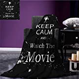 Keep Calm wearable blanket Watch the Movie Quote for Film Buffs Grungy Weathered Backdrop with Old Camera security blanket Black White size:51''x31.5''