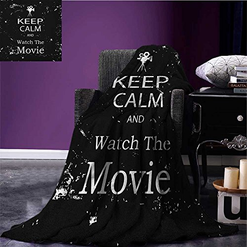 Keep Calm wearable blanket Watch the Movie Quote for Film Buffs Grungy Weathered Backdrop with Old Camera security blanket Black White size:51''x31.5'' by zojihome