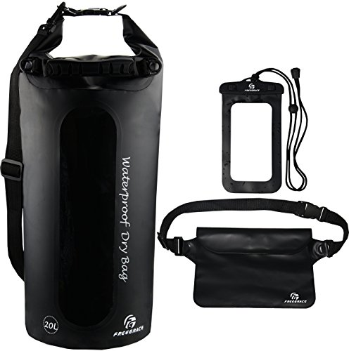 Waterproof Dry Bags Set Of 3 By Freegrace - Dry Bag With 2 Zip Lock Seals & Detachable Shoulder Strap, Waist Pouch & Phone Case - Can Be Submerged Into Water - For Swimming (Black(Window), 20L)