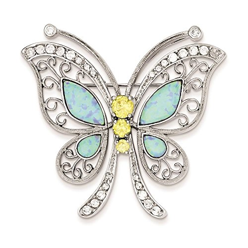 - 925 Sterling Silver Rhodium-plated Created Blue Opal w/ Yellow & Clear CZ Butterfly Pin