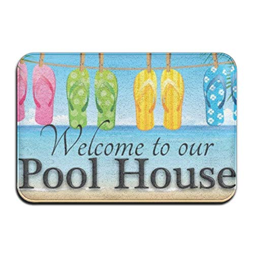 Nick Thoreaufhed Outdoor Door Mat, Kitchen Bathroom Floor Carpet Mat, Welcome to Our Pool House Theme Anti-Slip Door Mat Home Decor Indoor Outdoor Entrance Doormat Rubber Backing 23.6 X 15.7 Inches