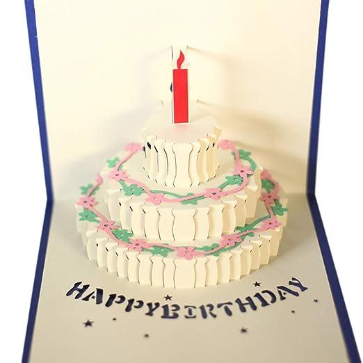 Hilai 1pc 3D Pop hasta Tarjetas de felicitación del feliz ...