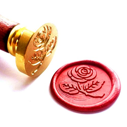 Leaf Wax - Vooseyhome The Rose with Leaves Wax Seal Stamp with Rosewood Handle - Ideal for Decorating Gift Packing, Envelopes, Parcels, Cards, Letters, Invitations, Signature and Everything You Like!