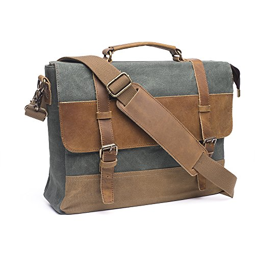 Express Laptop Tote Bag (Crazy Horse Leather Shoulder Briefcase, Laptop Bag Tote (Green))