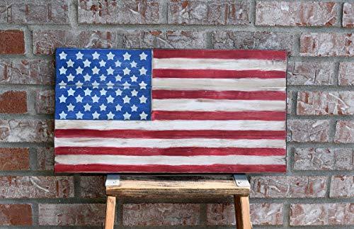 (American Flag Wall Decor, Wooden American Flag 11x21)