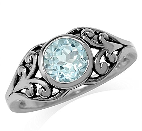 Topaz 925 Sterling Silver Filigree Solitaire Ring Size 8 (Filigree Solitaire Ring Setting)