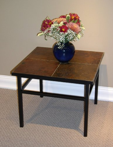 4D Concepts End Table with Slate Top, Metal/Slate