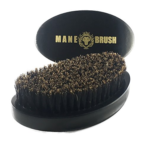 (The Mane Brush - Mens Curved Military Hair and Beard Brush - Curved 360 Wave Brush - 100% Boar Bristle (Black Bristle))