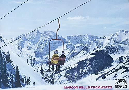 Aspen Ski Posters - 1970's Aspen Highlands Maroon Bells Original Ski Poster, Aspen Colorado Poster Size 21 x 30 inches