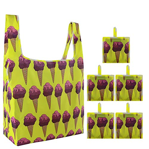 Reusable Groceries Bag Tote Bags 5 Pack Bulk with Pouch Foldable Shopping Reusable Bags 50 LB Drable Rip-stop Shopping Bag Large Capacity Washable Bag Ice cream Design Yellow