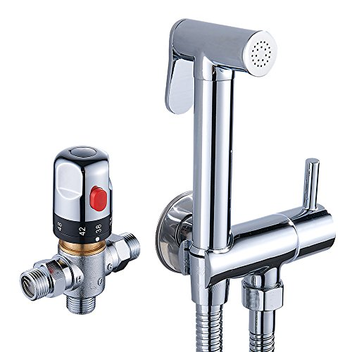 Fannybuy Thermostatic Cloth Diaper Kit Toilet Handheld Bidet Sprayer Set With Hot and Cold Mixing Valve Shattaf Chrome Scald Prevention(Thermostatic) (Scald Valve)