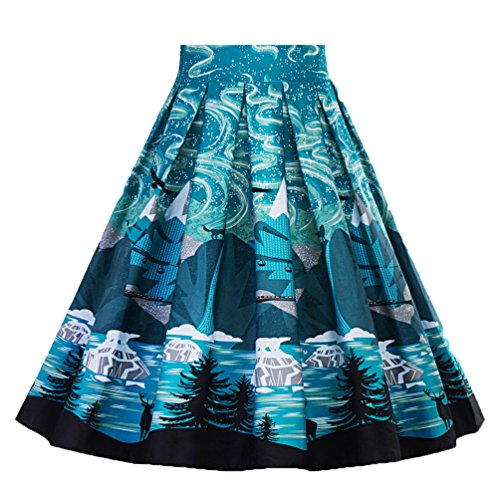 1950s Vintage YAANCUNN Jupe Haute Hepburn Midi Taille Bleu Audrey Imprimee Jupe Rtro n7WpZW6A
