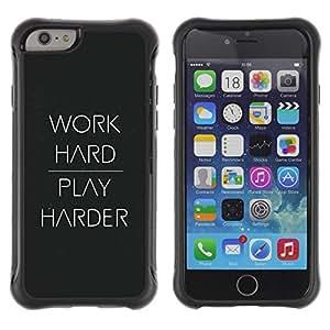 Suave TPU GEL Carcasa Funda Silicona Blando Estuche Caso de protección (para) Apple Iphone 6 / CECELL Phone case / / Work hard play black white text smart /