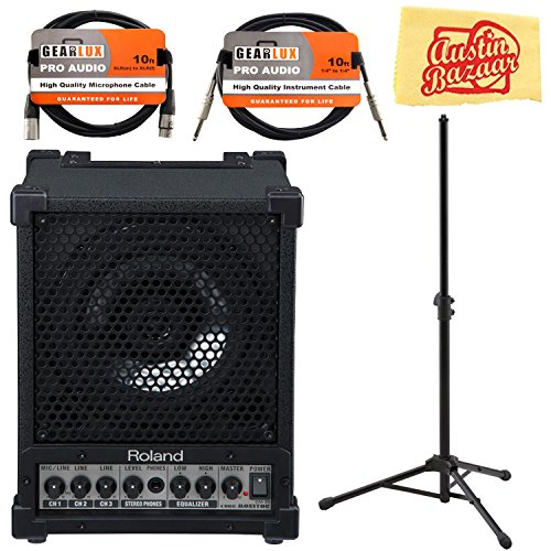 - Roland CM-30 Cube Monitor Bundle with Roland ST-CMS1 Speaker Stand, XLR Cable, Instrument Cable, and Austin Bazaar Polishing Cloth