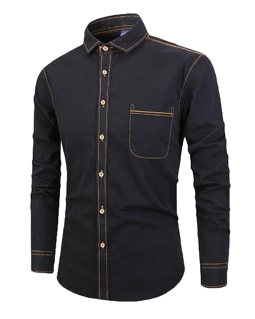 KLJR Men Button Up Slim Fit Thin Casual Denim Cotton Shirts