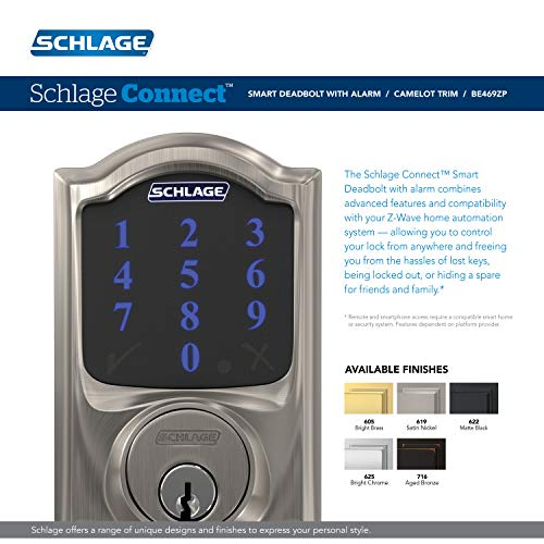SCHLAGE BE469ZP CAM 619 Connect Smart Deadbolt with alarm with Camelot Trim in Satin Nickel, Z-Wave Plus enabled