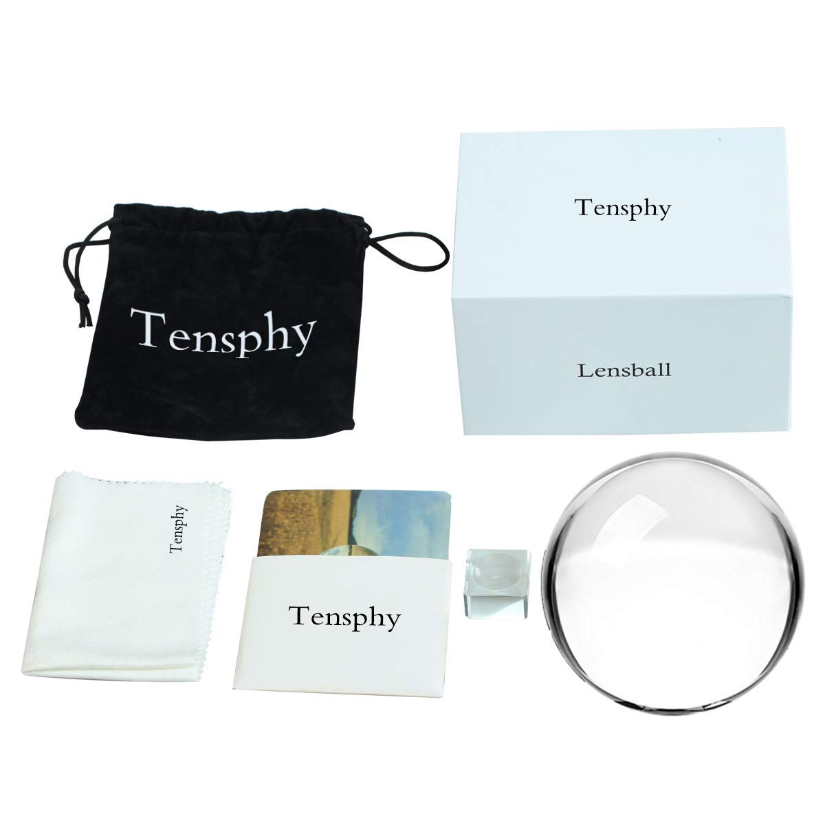 Tensphy 100 mm Photography Lensball Pro K9 Crystal Ball with Stand Clear Art Decor Glass Photo Sphere Ball for Photography Accessories Props by Tensphy