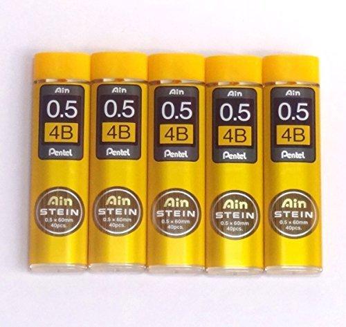 Pentel Ain Pencil Leads 0.5mm 4B, 40 Leads X 5 Pack/total 200 Leads (Japan Import) [Komainu-Dou Original Package] ()