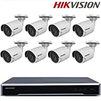 Hikvision English CCTV Security System NVR DS-7616NI-K2/16P 16POE ports 16CH 4K NVR with 2SATA + DS-2CD2055FWD-I 5MP Bullet IP Camera H.265+ POE + Seagate 4TB HDD (16 Channel + 8 Camera, 5MP)