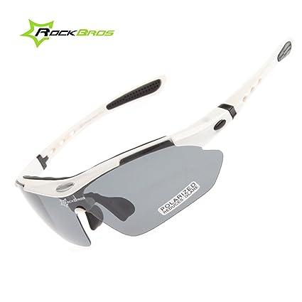 18dd118908 ROCKBROS Bike Polarized Cycling Glasses Cycling Sunglasses for Men Women  Sports Goggles (White)