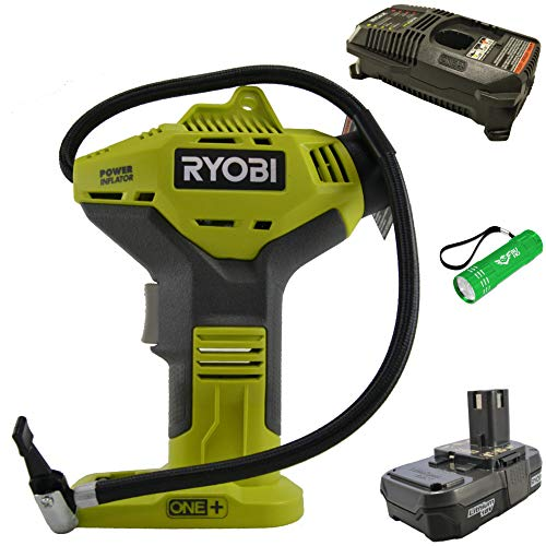 Ryobi P737 18-Volt One+ Tire Inflator Bundle with Battery, Charger and Buho Flashlight