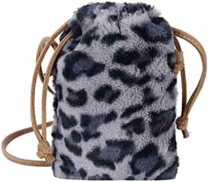ebe7b9d8da AFfeco Women Fashion Leopard Print Plush Drawstring Crossbody Shoulder Bags