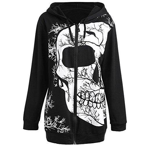 Moshow Felpa con cappuccio donna Giacca di scheletro Pullover hip hop più dimensioni parka cappotto