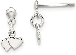 IceCarats 925 Sterling Silver Dangling Hearts Earrings