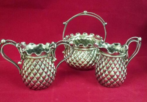 Antique Silver Plate Creamer, Sugar and Basket
