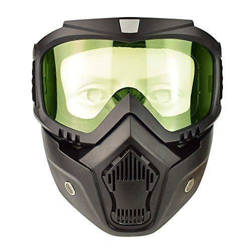 - Motorcycle Goggles Mask Detachable, Vintage Open Face Helmet Mask Detachable Sunglasses Protect Padding Ski Motocross Goggles Harley Helmet Sunglasses, Road Riding UV Motorbike Glasses (Yellow)