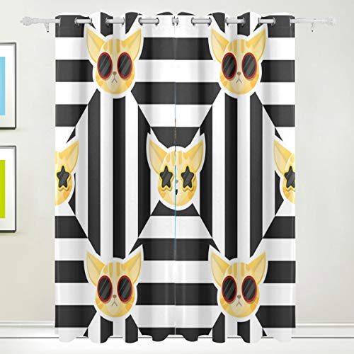 Comomons Malrtha Cat Halloween Costume Room Darkening Thermal Insulated Blackout Curtains Soft and -