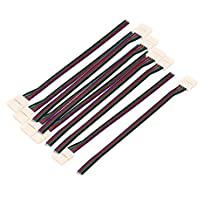 uxcell® 10Pcs 15cm Length 10mm Width 4 Pin Wire Connector for Led 5050 RGB Strip