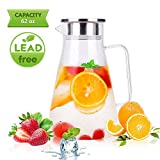 Glass Pitcher Uten Upgrade Clear Water Pitcher with Solid Handle+ Anti-overflow V-opening Mouth Pour Premium Refrigerator Pitcher for Juice,Coffee,Ice Cold Water,Hot Water,Tea,etc. [1.8 L, 62 Oz]